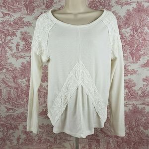 It's Our Time XL Lace Waffle Knit Top Thermal